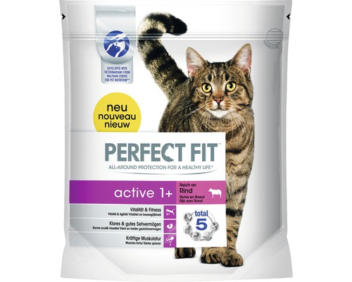 Nourriture sèche pour chats, Perfect Fit active 1+ bœuf 1,4 kg