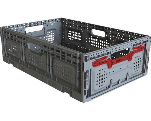 Caisse pliable 43l, gris-rouge