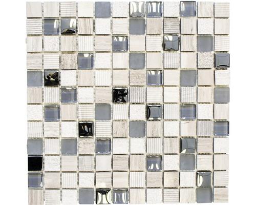 Mosaïque en verre XCM HQ20 MIX GRIS CLAIR 30x30cm