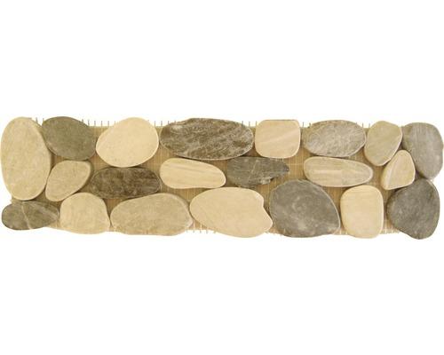 Frise en pierre naturelle Flusskiesel multicolore 10,0x30,0cm