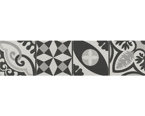 Frise en céramique Patchwork black & white 7,7x31,8cm