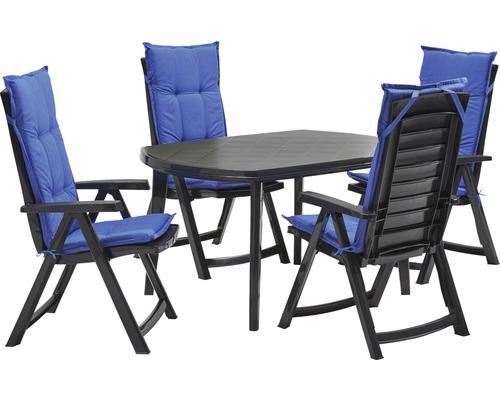Set de meubles de jardin Garda en plastique 5 pièces 4 places bleu ...