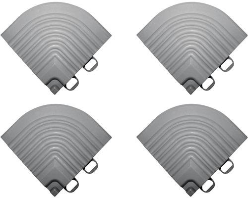 Élément d''angle pour dalle à clipser 6,2x6,2cm 4 pièces blanc-aluminium