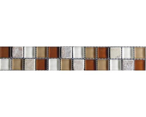Frise en verre avec pierre naturelle red brown mix 4,8x30,0cm