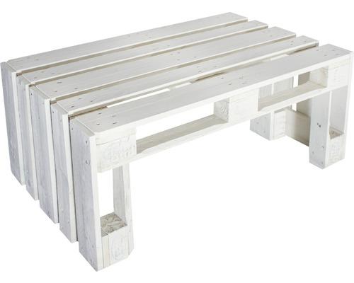 Table en palettes en épicéa de 124 x 80 x 52cm, crème
