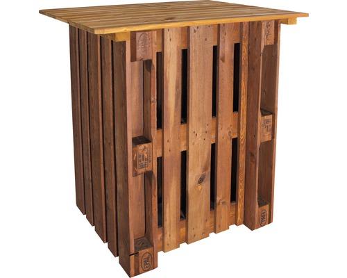 Table de bar en palettes en épicéa de 120 x 95 x 122cm marron