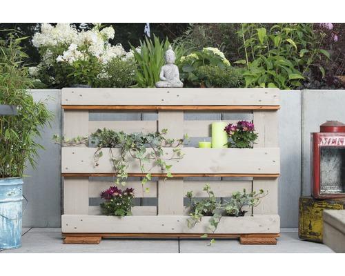 Jardinière surélevée en palettes Fines herbes, 120 x 40 x 84cm, crème