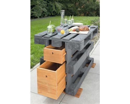 Table haute en palettes de bois de 120 x 80 x 86cm grise