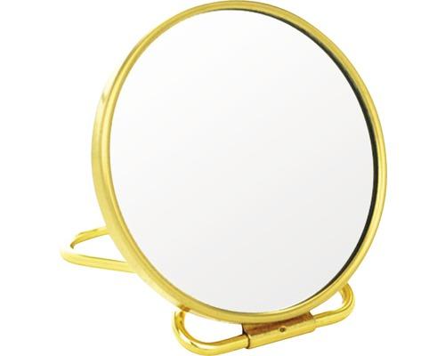 Miroir de maquillage grossissant 5 fois doré 7cm