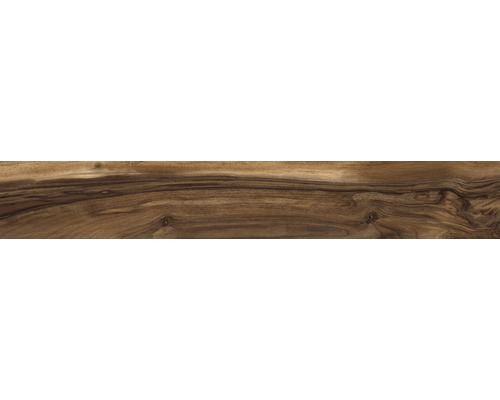 Dalles de sol grès cérame fin Bosco lisse 15x100 cm Nut