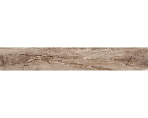 Dalles de sol grès cérame fin Dakota lisse 15x100 cm marrone