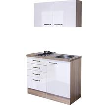Mini-cuisine Valero 100 cm blanc hautement brillant avec appareils encastrés-thumb-1