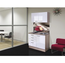 Mini-cuisine Valero 100 cm blanc hautement brillant avec appareils encastrés-thumb-0