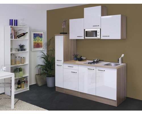 Kitchenette Valero 180 cm blanc brillant/chêne sonoma 00009876-0