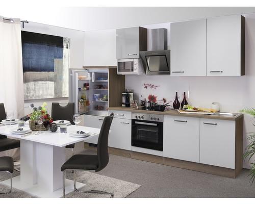 Cuisine complète Valero 280 cm avec électroménager encastré blanc brillant/chêne sonoma 00009986-0