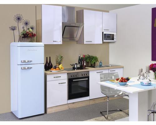 Cuisine complète Valero 220 cm avec électroménager encastré blanc brillant/chêne sonoma 00009942