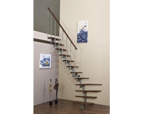 Escalier à crémaillère Pertura Kolina hêtre laqué 13 marches 1/4 tournant couleur noyer