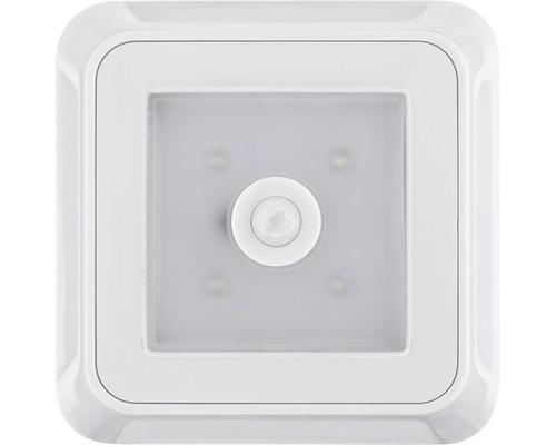 Lampe à LED à piles avec capteur crépusculaire et détecteur de mouvements blanche 92x92 mm