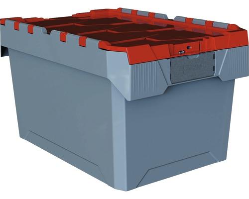 Boîte de stockage professionnelle gris rouge 60l 60x40x34cm