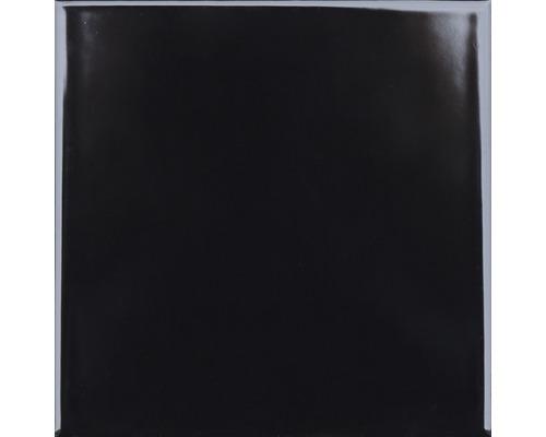 Carrelage mural en grès Plain noir brillant 20x20cm