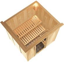 Sauna Plug & Play Karibu kit économique Maria avec poêle 3,6 kW, commande extérieure et frise de toit-thumb-3