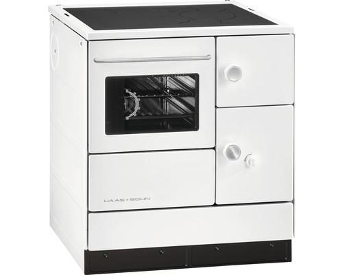 Cuisinière à feu continu Haas & Sohn HA 75.5-A blanc à gauche