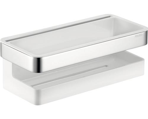 Panier de douche KEUCO Moll chrome/blanc avec raclette pour verre 12759