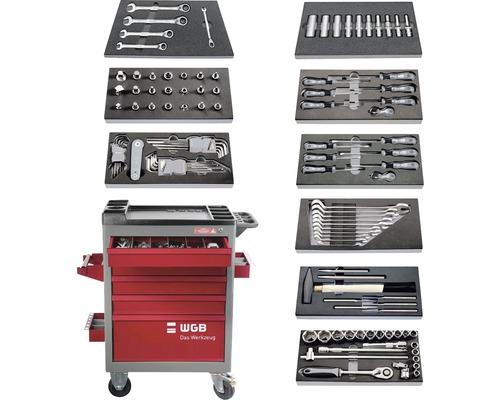 Chariot d'atelier WGB avec 5 tiroirs, 9 modules compris, 122 pces.