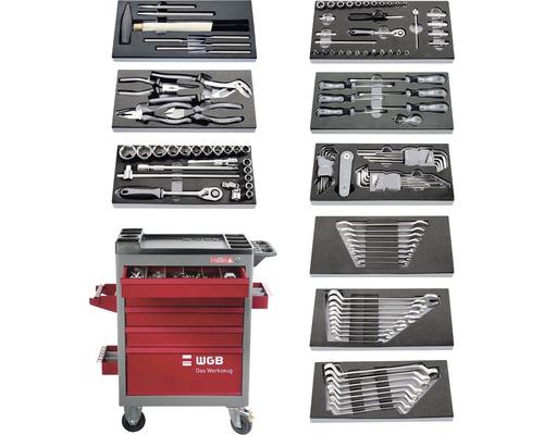 Chariot d'atelier WGB avec 5 tiroirs, 9 modules compris, 132 pces.