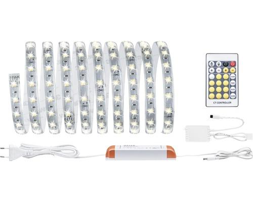 Kit de base Strip MaxLED prêt à l''emploi à intensité lumineuse variable 3 m 1740 lm 2700-6500 K blanc chaud - blanc naturel Tunable White revêtu 180 LED avec commande à distance 24V convient au Smart Home après extension