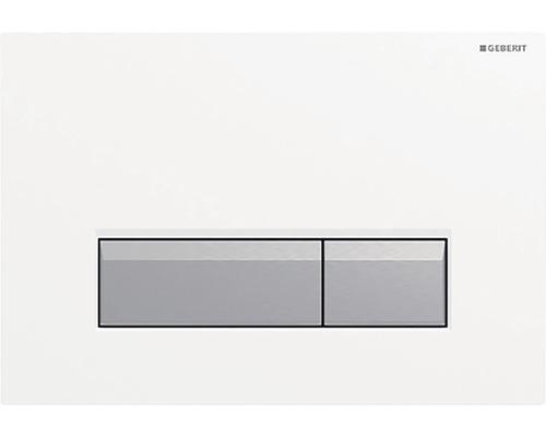 Plaque de recouvrement Geberit Sigma 40 blanc/aluminium brossé avec aspiration des odeurs chaleur tournante 115.600.KQ.1