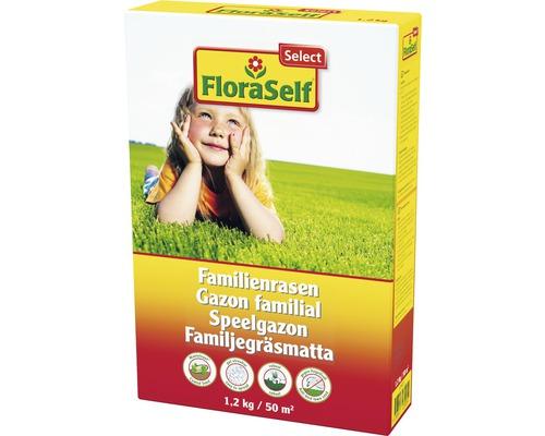 Semences de gazon avec enveloppe pour gazon familial FloraSelf Select, 1,2kg 50m²