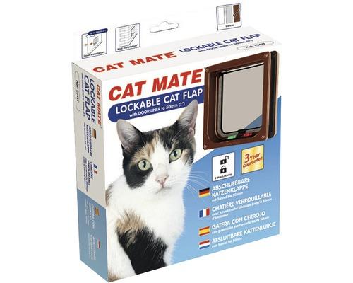 Chatière Cat Mate verrouillable avec tunnel profondeur d''encastrement jusqu''à 50 mm165 x 174 mm marron