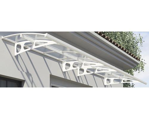 Vordach Bordeaux 447x139 cm weiß Polycarbonat klar
