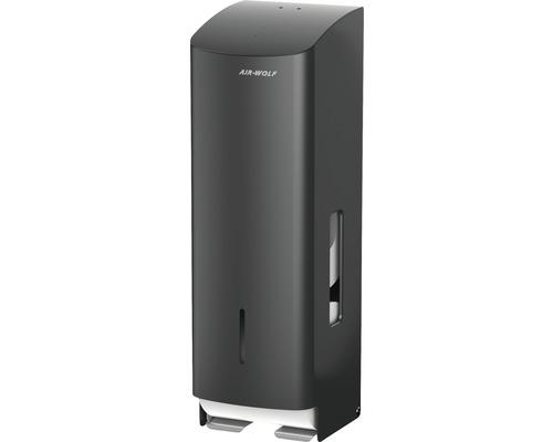 Distributeur de papier toilette AIR-WOLF Alpha pour 3 rouleaux acier inoxydable noir