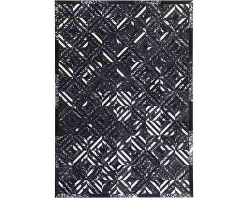 Tapis en cuir Exotic 510 noir-argent 80x150 cm