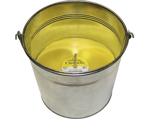Bougie à la citronnelle dans un seau en zinc Ø18 H15cm jaune