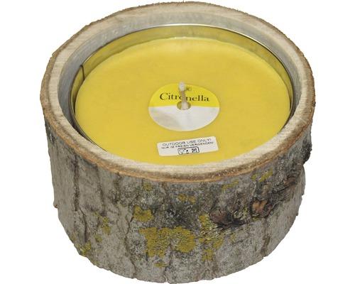 Bougie à la citronnelle Wood bois-métal Ø20 H10cm jaune