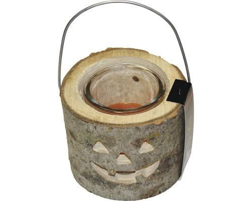 Bougie d''extérieur Halloween bois-verre Ø18 H15cm orange