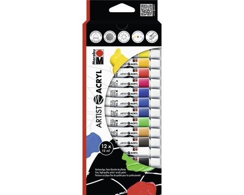 Peinture acrylique pour artiste Artist Marabu kit acrylique 12x12ml