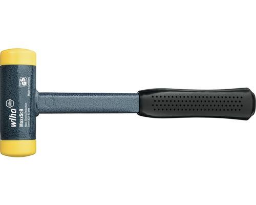Marteau non destructif sans rebond Wiha 40 mm diamètre de la tête avec manche en tube d''acier brut et tête de frappe ronde, moyennement dur