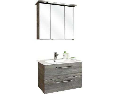 Ensemble de meubles de salle de bains Pelipal Kumba graphite à structure transversale avec vasque en marbre minéral extra plat 200x80x50cm prémonté