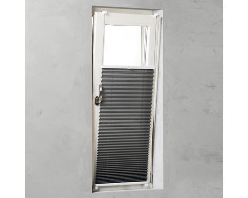 Store plissé Soluna avec guidage latéral, gris 45x130cm