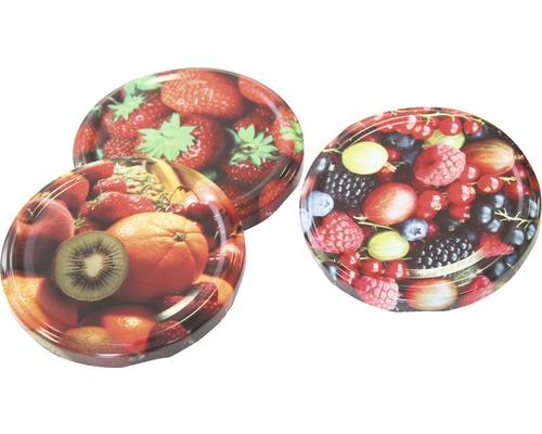 Couvercle vissable avec motif fruits Ø82mm 3 pièces