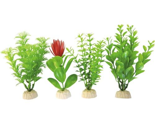 Plantes aquatiques en plastique standards, petit format 19 cm, 4 pièces, vert