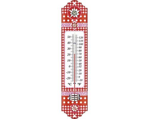 Thermomètre intérieur-extérieur motif edelweiss