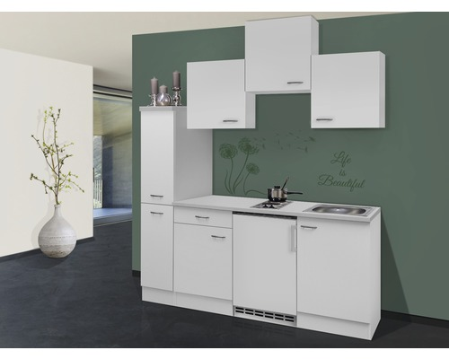 Coin cuisine wito blanc 180 cm avec appareils encastr s for Cuisine 180 cm