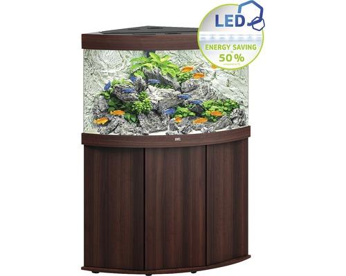 Kit complet d''aquarium JUWEL Trigon 190 SBX avec éclairage LED, filtre, chauffage et meuble bas bois foncé