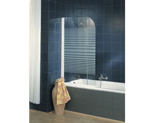 Pare-baignoire Schulte ExpressPlus 1 partie 80 cm décor rayures transversales blanc alpin