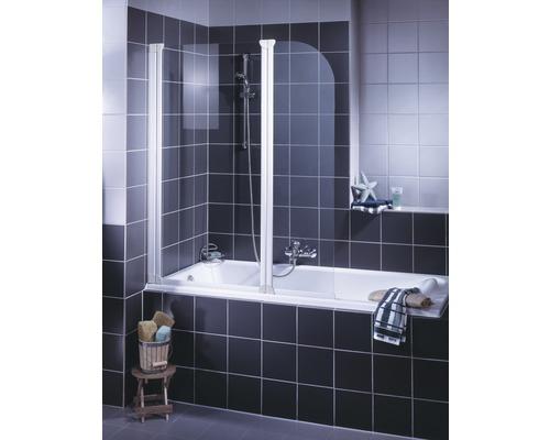 Pare-baignoire Schulte ExpressPlus 2 parties 115 cm transparent clair blanc alpin